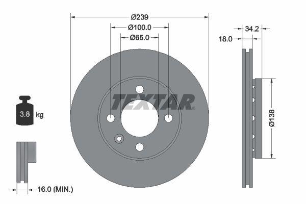 TEXTAR PRO 92072003 Bremsscheibe Bremsscheibendicke: 18,0mm, Ø: 239mm