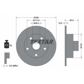 TEXTAR PRO 92072103 Bremsscheibe Bremsscheibendicke: 10,0mm, Ø: 245mm