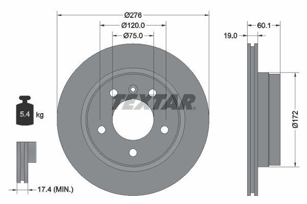 TEXTAR PRO 92072403 Bremsscheibe Bremsscheibendicke: 19mm, Ø: 276mm
