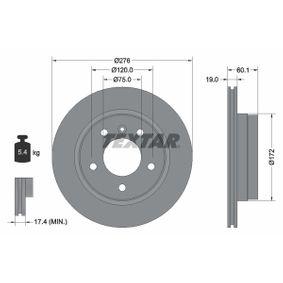 TEXTAR PRO 92072403 Bremsscheibe Bremsscheibendicke: 19,0mm, Ø: 276mm
