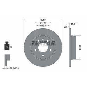 TEXTAR PRO 92074303 Bremsscheibe Bremsscheibendicke: 9,9mm, Ø: 268mm