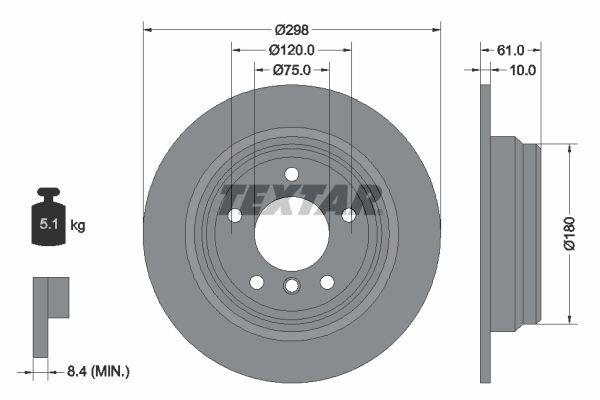 TEXTAR PRO 92076603 Bremsscheibe Bremsscheibendicke: 10mm, Ø: 298mm