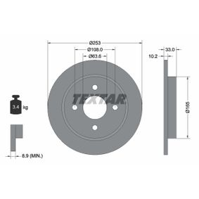 Brake Disc Brake Disc Thickness: 10,2mm, Ø: 253mm with OEM Number 95GB2A3-15B1C