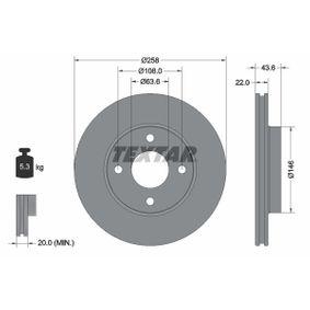 Brake Disc Brake Disc Thickness: 22mm, Ø: 258mm with OEM Number 98AG112-5EA