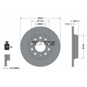 Bremsscheibe Bremsscheibendicke: 11,9mm, Ø: 255mm mit OEM-Nummer 8E0 615 601D