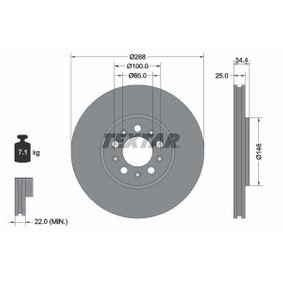TEXTAR PRO 92106603 Bremsscheibe Bremsscheibendicke: 25,0mm, Ø: 287mm