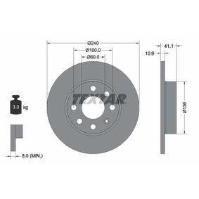 Bremsscheiben für OPEL CORSA C (F08, F68) 1.2 75 PS ab Baujahr 09.2000 TEXTAR Bremsscheibe (92111303) für