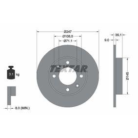 Pedales y Cubre Pedales PEUGEOT 307 SW (3H) 1.6 BioFlex de Año 09.2007 109 CV: Disco de freno (92111703) para de TEXTAR