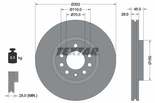 TEXTAR PRO 92118303 Bremsscheibe Bremsscheibendicke: 28mm, Ø: 302mm