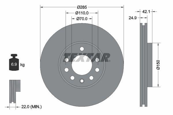TEXTAR PRO 92118703 Bremsscheibe Bremsscheibendicke: 24,9mm, Ø: 285mm