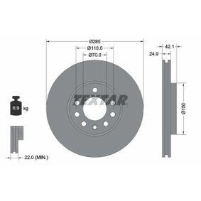 Bremsscheibe Bremsscheibendicke: 24,9mm, Ø: 285mm mit OEM-Nummer 09A22210