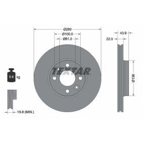 Bremsscheibe Bremsscheibendicke: 22mm, Ø: 260mm mit OEM-Nummer 40206-AX600