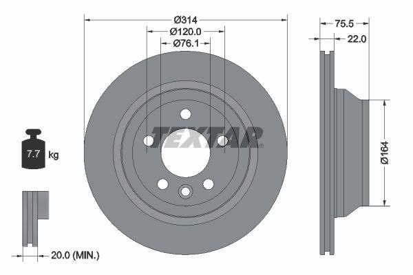 TEXTAR PRO 92121903 Bremsscheibe Bremsscheibendicke: 22mm, Ø: 314mm