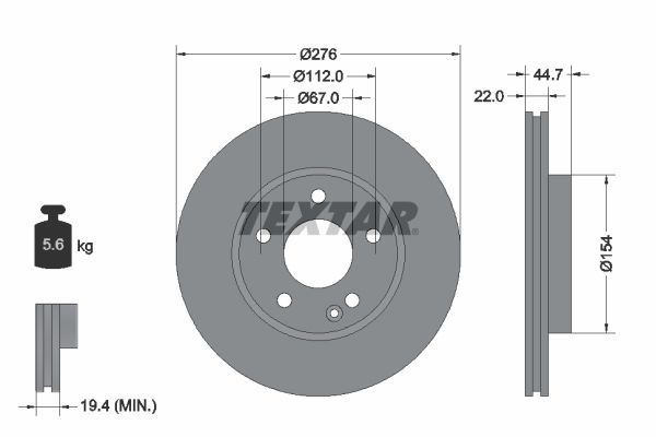 TEXTAR PRO 92131903 Bremsscheibe Bremsscheibendicke: 22mm, Ø: 276mm