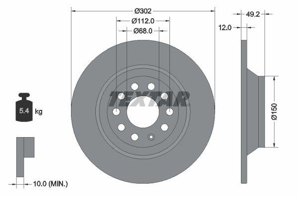 TEXTAR PRO 92132503 Bremsscheibe Bremsscheibendicke: 12mm, Ø: 302mm