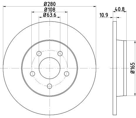 TEXTAR PRO 92133803 Bremsscheibe Bremsscheibendicke: 10,9mm, Ø: 280mm