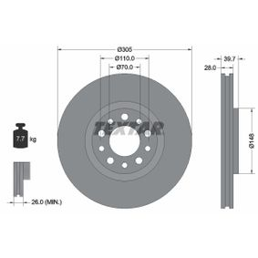Bremsscheibe Bremsscheibendicke: 28,0mm, Ø: 305mm mit OEM-Nummer 517 60 621