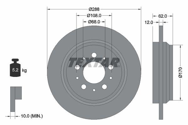 TEXTAR PRO 92149203 Bremsscheibe Bremsscheibendicke: 12mm, Ø: 288mm