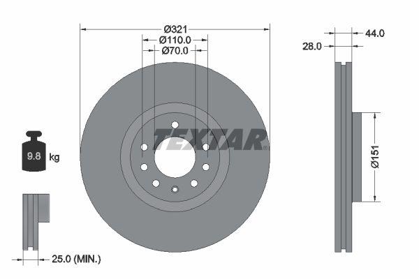 TEXTAR PRO 92149803 Brake Disc Brake Disc Thickness: 28mm, Ø: 321mm