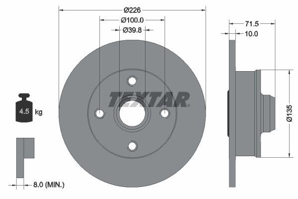 TEXTAR PRO 92154203 Bremsscheibe Bremsscheibendicke: 10mm, Ø: 226mm