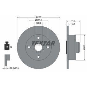 TEXTAR PRO 92154203 Bremsscheibe Bremsscheibendicke: 10,0mm, Ø: 226mm