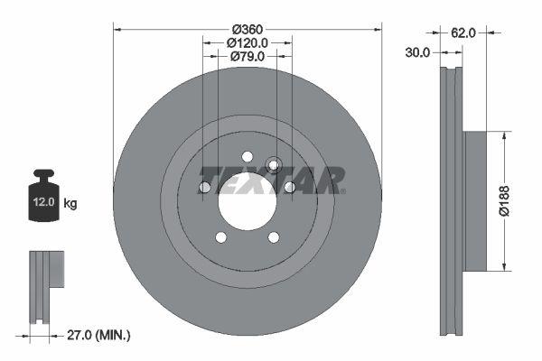 TEXTAR  92162000 Bremsscheibe Bremsscheibendicke: 30mm, Ø: 360mm