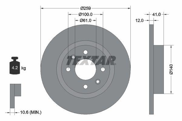 TEXTAR  92175100 Bremsscheibe Bremsscheibendicke: 12,0mm, Ø: 259mm