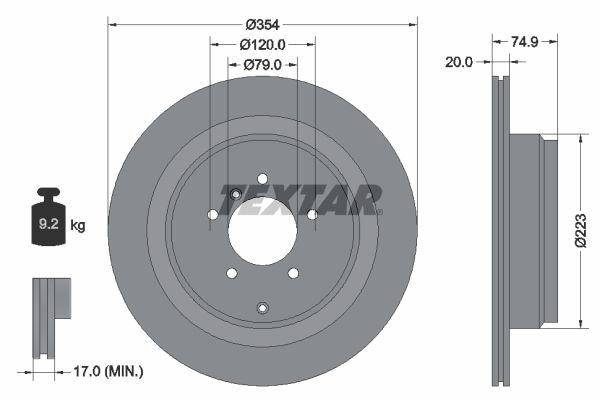 TEXTAR  92175500 Bremsscheibe Bremsscheibendicke: 20mm, Ø: 354mm