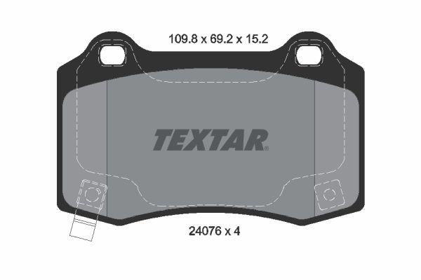 TEXTAR  2407601 Bremsbelagsatz, Scheibenbremse Breite: 109,8mm, Höhe: 69,2mm, Dicke/Stärke: 15,2mm