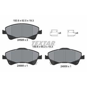 TEXTAR  2466801 Bremsbelagsatz, Scheibenbremse Breite: 150,8mm, Höhe 1: 65,3mm, Höhe 2: 62,5mm, Dicke/Stärke: 18,9mm