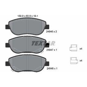 Bremsbelagsatz, Scheibenbremse Breite: 150,9mm, Höhe: 61,1mm, Dicke/Stärke: 19,1mm mit OEM-Nummer 249.46