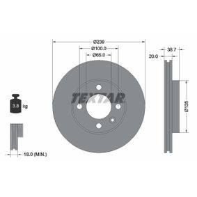 Bremsscheibe Bremsscheibendicke: 20,0mm, Ø: 239mm mit OEM-Nummer 6N0 615 301 G