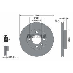 TEXTAR PRO 92012103 Bremsscheibe Bremsscheibendicke: 20,0mm, Ø: 239mm
