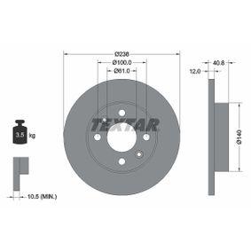 Bremsscheibe Bremsscheibendicke: 12mm, Ø: 238mm mit OEM-Nummer 60 01 549 211