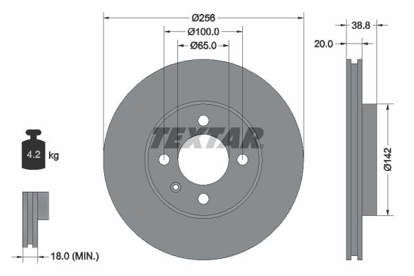 TEXTAR PRO 92036803 Bremsscheibe Bremsscheibendicke: 20,0mm, Ø: 256mm