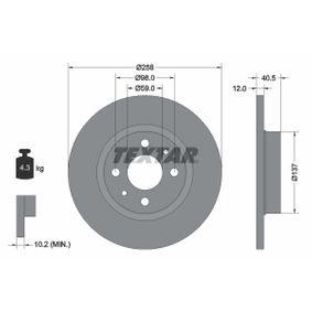 TEXTAR спирачен диск (92041503) за с ОЕМ-номер 60808872