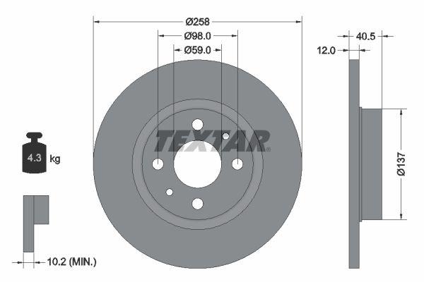 TEXTAR спирачен диск предна ос, Ø: 258мм, плътен, с покритие 92041503