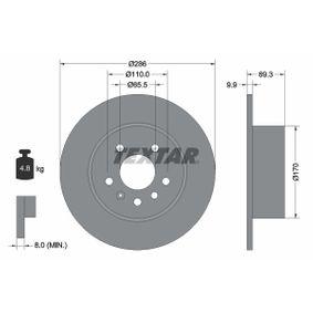 Bremsscheibe Bremsscheibendicke: 9,9mm, Ø: 286mm mit OEM-Nummer 48 37 027