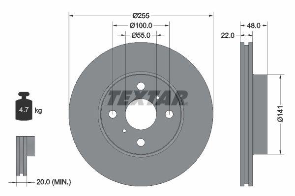TEXTAR PRO 92077203 Bremsscheibe Bremsscheibendicke: 22mm, Ø: 255mm