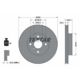 Bremsscheibe Bremsscheibendicke: 22mm, Ø: 255mm mit OEM-Nummer 43512-12550