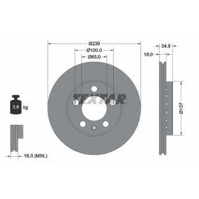 TEXTAR PRO 92106803 Bremsscheibe Bremsscheibendicke: 18,0mm, Ø: 239mm