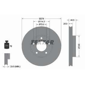 Brake Disc Brake Disc Thickness: 25mm, Ø: 278mm with OEM Number C24Y3325XC9A