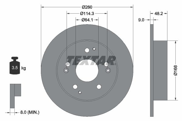 TEXTAR PRO 92172103 Bremsscheibe Bremsscheibendicke: 9mm, Ø: 260mm