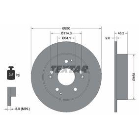 Bremsscheibe Bremsscheibendicke: 9mm, Ø: 260mm mit OEM-Nummer 42510 S87 A00