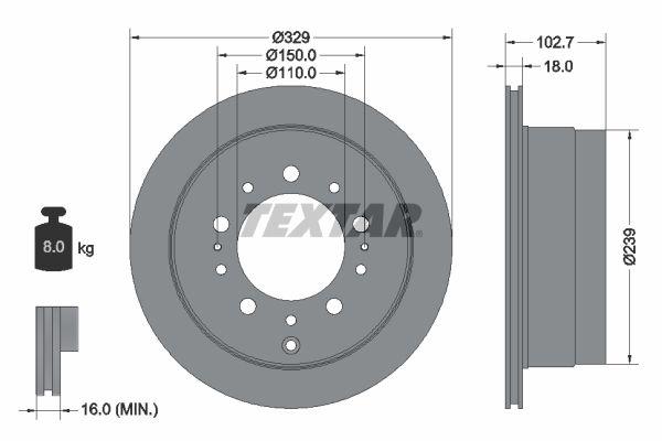 TEXTAR PRO 92172803 Bremsscheibe Bremsscheibendicke: 18mm, Ø: 329mm