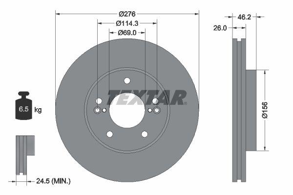 TEXTAR PRO 92173203 Bremsscheibe Bremsscheibendicke: 26mm, Ø: 276mm