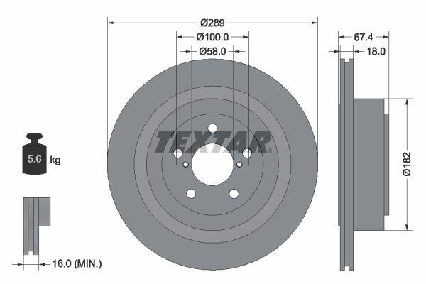 TEXTAR PRO 92173603 Bremsscheibe Bremsscheibendicke: 18mm, Ø: 289mm