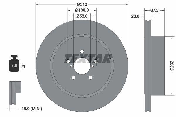 TEXTAR PRO 92173703 Bremsscheibe Bremsscheibendicke: 20mm, Ø: 316mm
