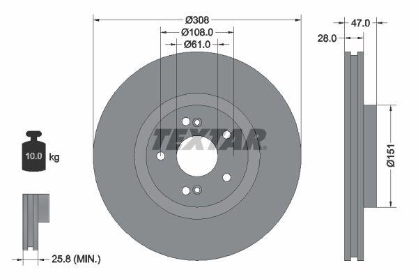 TEXTAR PRO 92174003 Bremsscheibe Bremsscheibendicke: 28mm, Ø: 308mm