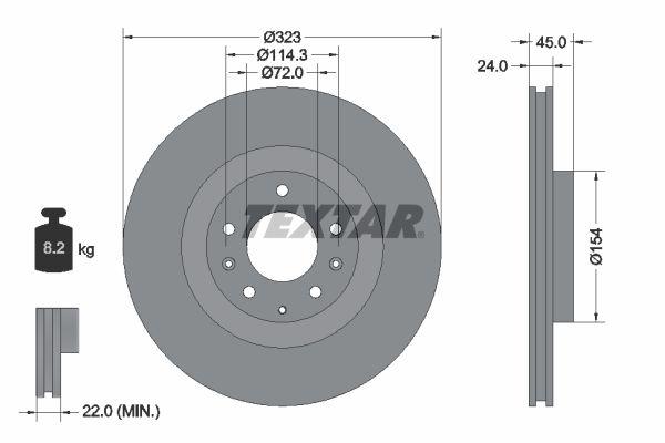 TEXTAR PRO 92174403 Bremsscheibe Bremsscheibendicke: 24mm, Ø: 323mm